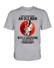 02 saxophone old man never V-Neck T-Shirt tile