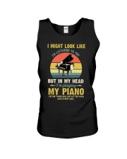 Piano I Might listenning Unisex Tank tile