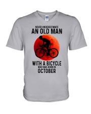 10 cycling old man never V-Neck T-Shirt tile