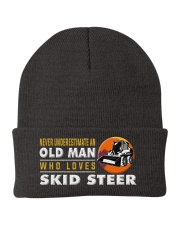 hat skid steer old man Knit Beanie thumbnail