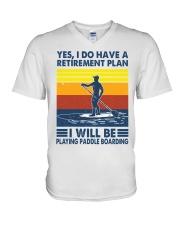 Paddleboarding Retirement Plan V-Neck T-Shirt tile