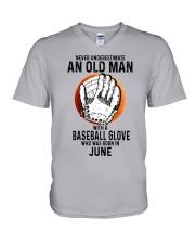 06 baseball old man V-Neck T-Shirt tile