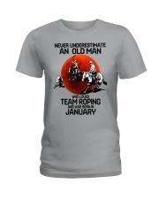 1 team roping never Ladies T-Shirt tile