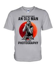 photography never old man V-Neck T-Shirt tile