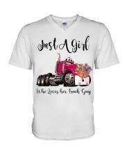 Truck Girl V-Neck T-Shirt tile