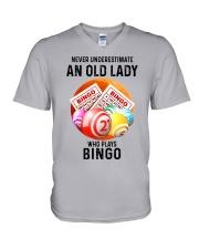bingo old lady V-Neck T-Shirt tile