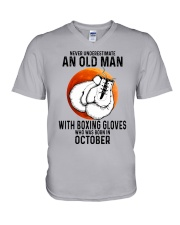 10 boxing old man V-Neck T-Shirt tile
