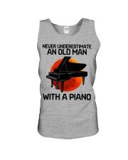 06 hat piano old man Unisex Tank tile