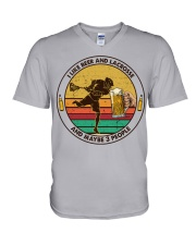 i like beer lacrosse V-Neck T-Shirt tile