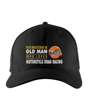 hat motorcycle drag racing old man Embroidered Hat front