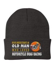 hat motorcycle drag racing old man Knit Beanie thumbnail