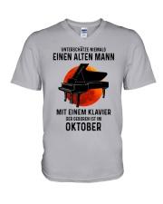 10 piano old man german V-Neck T-Shirt tile