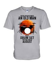 08 drum set never old man V-Neck T-Shirt tile