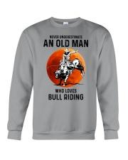 bull riding old man never Crewneck Sweatshirt tile