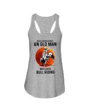 bull riding old man never Ladies Flowy Tank tile