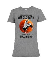 bull riding old man never Premium Fit Ladies Tee tile