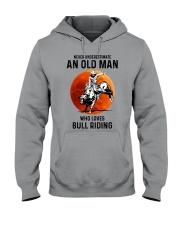 bull riding old man never Hooded Sweatshirt tile