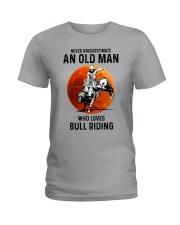 bull riding old man never Ladies T-Shirt tile