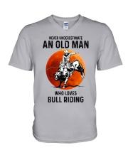 bull riding old man never V-Neck T-Shirt tile