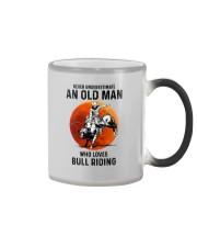 bull riding old man never Color Changing Mug tile