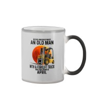 04 forklift truck old man color Color Changing Mug tile