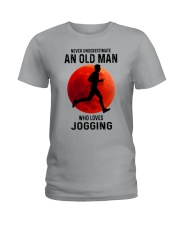 jogging old man never Ladies T-Shirt tile