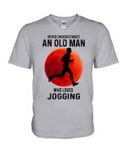 jogging old man never V-Neck T-Shirt tile