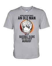 08 baseball old man V-Neck T-Shirt tile