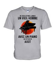 08 piano old man france V-Neck T-Shirt tile