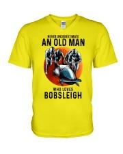 bobsleigh old man V-Neck T-Shirt tile