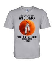 06 native old man V-Neck T-Shirt tile