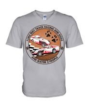 i like dog Dirt track racing V-Neck T-Shirt tile