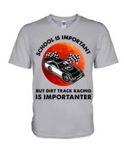 red school-Dirt track racing V-Neck T-Shirt tile