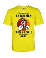 04 cycling never old man V-Neck T-Shirt tile
