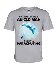 never parachuting V-Neck T-Shirt tile