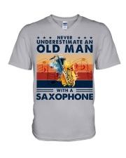 Saxophone V-Neck T-Shirt tile