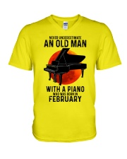 02 piano never old man V-Neck T-Shirt tile