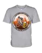 i like beer cycling V-Neck T-Shirt tile