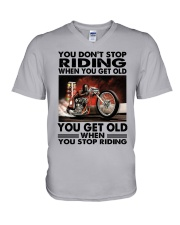 motorcycle drag racing riding V-Neck T-Shirt tile
