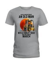 03 forklift truck old man color Ladies T-Shirt tile