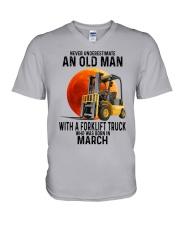 03 forklift truck old man color V-Neck T-Shirt tile