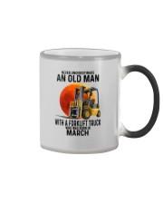 03 forklift truck old man color Color Changing Mug tile