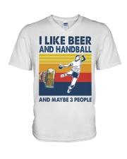 Handball I Like Beer V-Neck T-Shirt tile