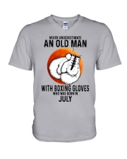 07 boxing old man V-Neck T-Shirt tile