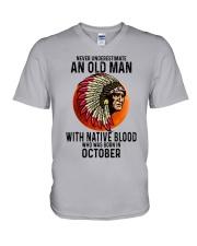 10 native blood old man V-Neck T-Shirt tile