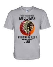 06 native blood old man V-Neck T-Shirt tile