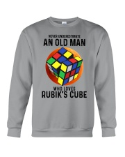 Rubiks Cube never old man Crewneck Sweatshirt tile