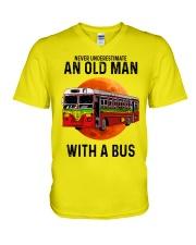 bus old man V-Neck T-Shirt tile
