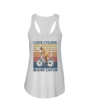cycling and cat Ladies Flowy Tank tile