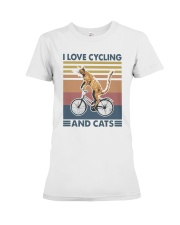 cycling and cat Premium Fit Ladies Tee tile